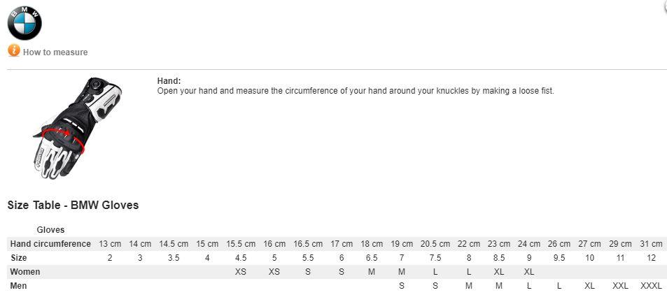 Bmw Glove Sizing Chart Dual Sport Enduro Adventure Riding