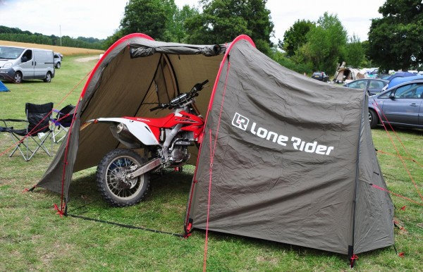 Lone Rider Moto Tent with bike