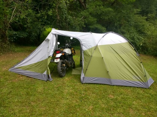 Vuz Moto Tent with bike