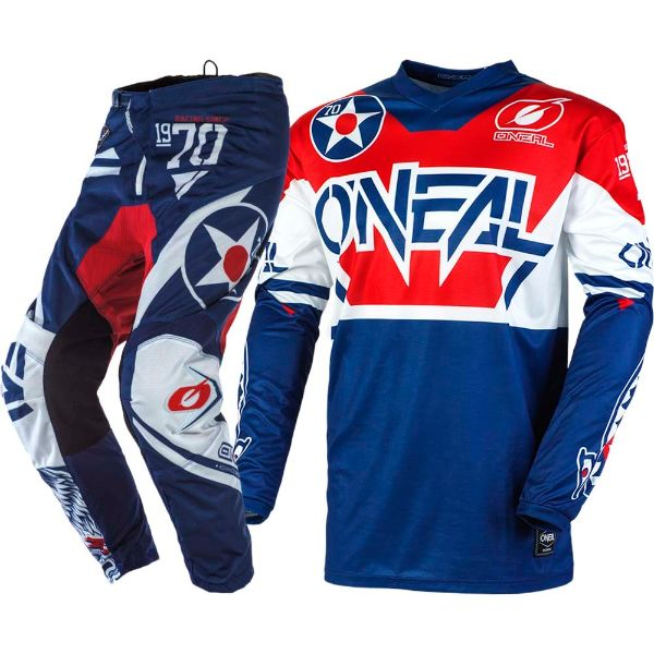 ONeal Element Warhawk Blue Red combo set