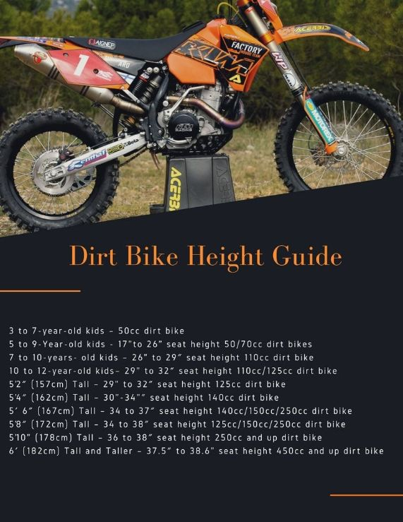 Dirt Bike Seat Height Chart