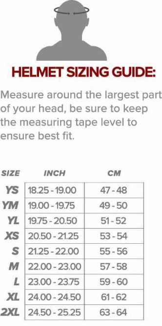 Fly racing Helmet sizing chart