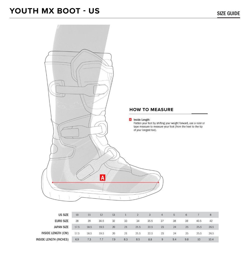 Alpinestars Youth MX boot size chart