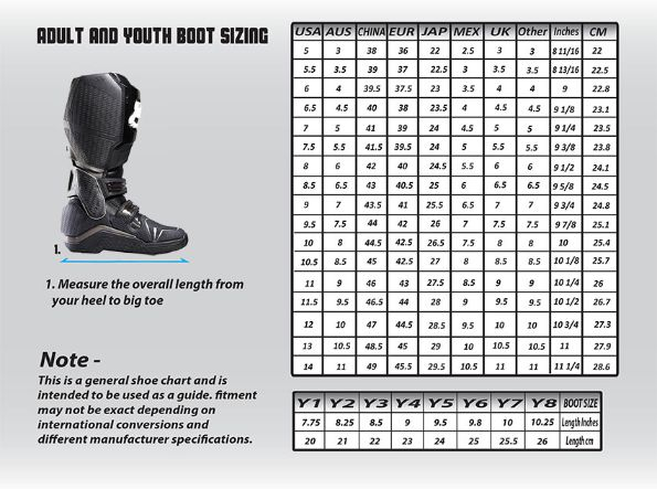 Fox youth motocross boot size chart