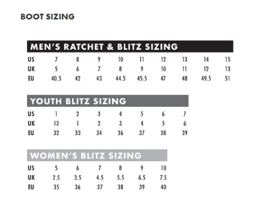 Thor Youth MX boot size chart