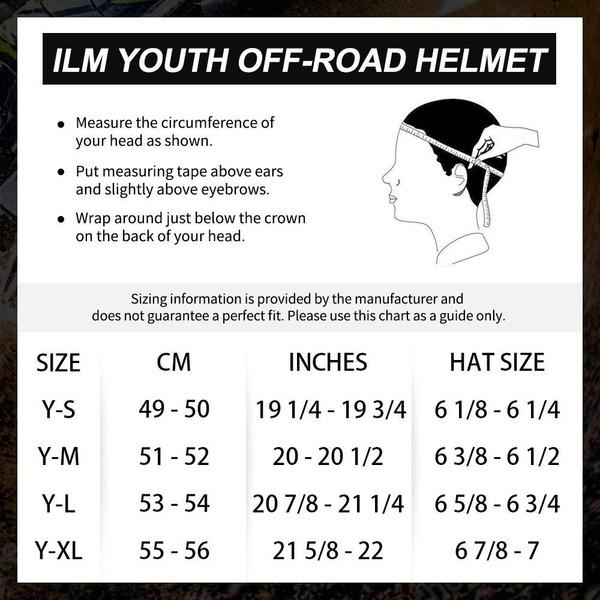 ILM youth off road helmet sizing chart