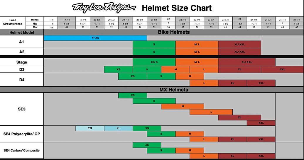 troy lee helmet size chart